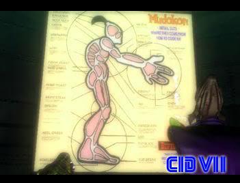 Esquema anatómico de un mudokon, en el que se aprecia el 4º dedo
